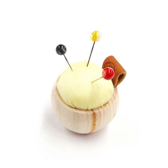 Cohana Pincushion of Cypress wood and Banshu textile (Yellow)