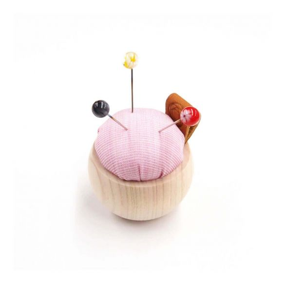 Cohana Pincushion of Cypress wood and Banshu textile (Pink)