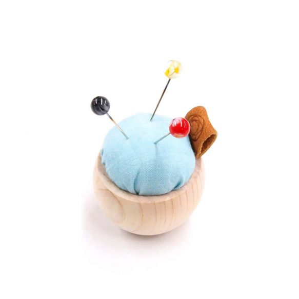 Cohana Pincushion of Cypress wood and Banshu textile (Light Blue)