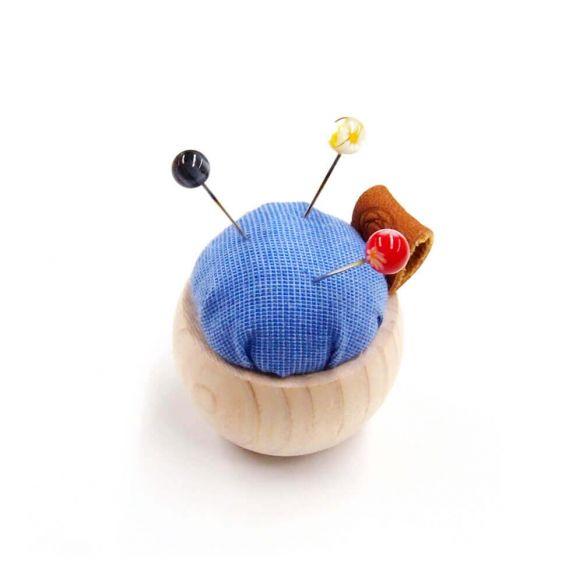 Cohana Pincushion of Cypress wood and Banshu textile (Blue)