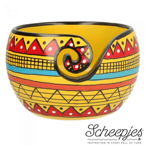 Yellow Strip Yarn Bowl (Mango wood)