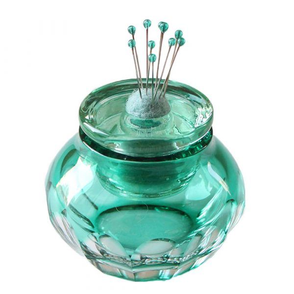 Cohana Otaru Kiriko Pincushion with glass-headed pins (green)