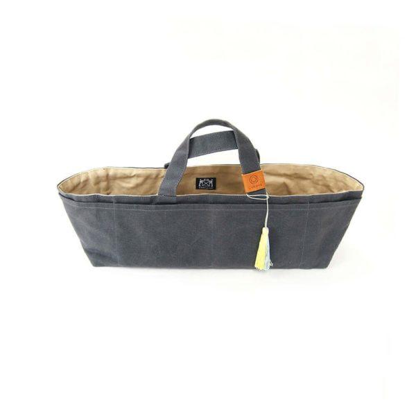 Cohana paraffin-coated knickknack bag (grey/yellow)