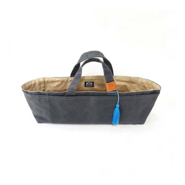 Cohana paraffin-coated knickknack bag (grey/blue)